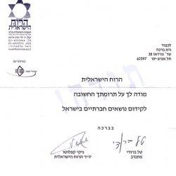 Israeli Spirit Certificate of Appreciation